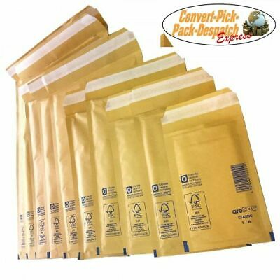 AROFOL Real Bran Gold Bubble Padded Envelopes Mailing Bags Bubble Bags 5 Sizes