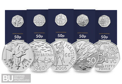 Celebrating 50 Years of the 50p 2019 COIN SET Military Brilliant Uncirculated.