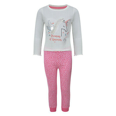 Girls Pyjamas Dreaming Of Unicorns Ex Uk Store Cuffed Hems Night Wear Pj Set New