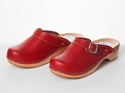 Womens Work Clogs Garden Kitchen Hospital Nurse Slip On Leather Shoes Mules Red