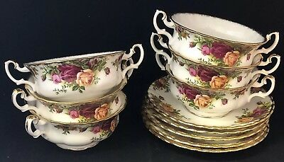 "1st Quality Royal Albert ""Old Country Roses"" 6 Soup Bowls & 5 Saucers Set"