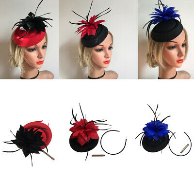 Feather /& Pearl Head Alice Band Fascinator Race Ladies Day Wedding Royal Decor