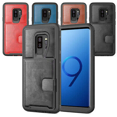 Case For Samsung Galaxy S9 Luxury Shockproof Leather Rugged Rubber Bumper Cover