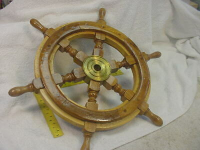 """Nautical Size 18"""" Vintage Wooden Ship Steering Wheel Wood Brass Wall Boat"""