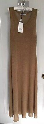 544a4304757 Ladies Zara Knit Long Rustic Dress With Linen Sand Size S BNWT RRP £49.99