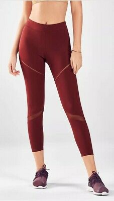 2cd7fee5b40a11 Fabletics High Waisted Statement Ultra Cool 7/8 Cropped Leggings Size Small  Red