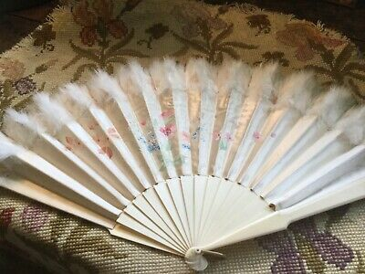Antique folding fan white ostrich feathers with hand painted flowers on silk