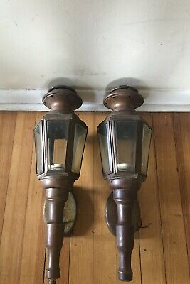 2 Vintage Copper Lantern Wall Sconce Light Fixture 6 Sided Beveled Glass