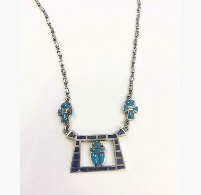 Rare Egyptian Stamped Sterling Silver Turquoise,Lapis SCARAB 4 Luck,ANKH Choker