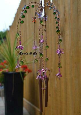 Stained Glass Fuchsia Flower Windchime Sun Catcher Wind Chime Garden Decoration