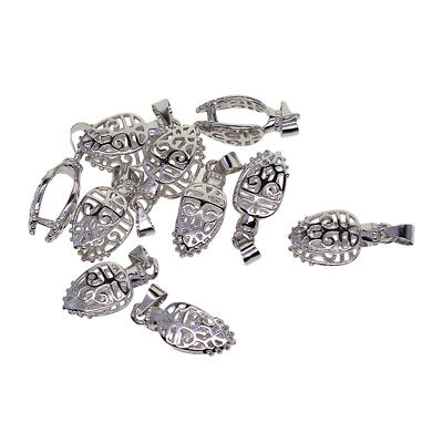 10x Filigree Pinch Pendant Bail Connector DIY Jewelry Makings Clasp Silver