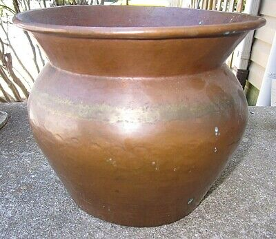 Vtg Antique Hand Forged Hammered Copper Spittoon Vase Planter Dovetailed Seams