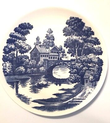 """Old Vintage Nasco China Lakeview Plate Hand Painted Blue and White Japan 9"""""""