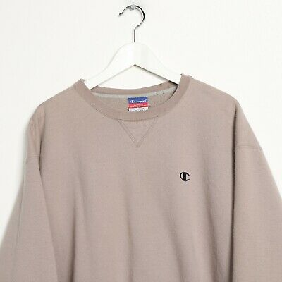 Vintage CHAMPION Small Logo Sweatshirt Jumper Beige | Large L