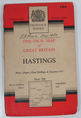 1959 old vintage OS Ordnance Survey one-inch seventh Series Map 184 Hastings