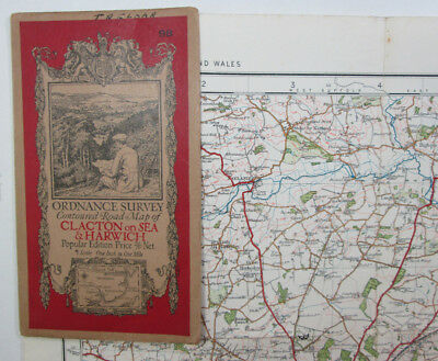 1928 OS Ordnance Survey one-inch Popular Edition Map 98 Clacton on Sea & Harwich