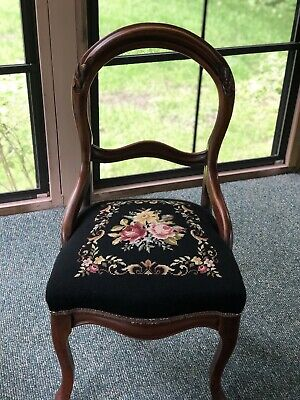 Antique Balloon Back Carved Chair Needlepoint Seat Cushion Wood Wooden Parlor