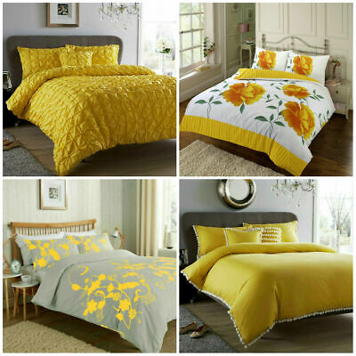 Ochre Duvet Cover Yellow Mustard Printed / Luxury Quilt Set Bedding Covers Sets
