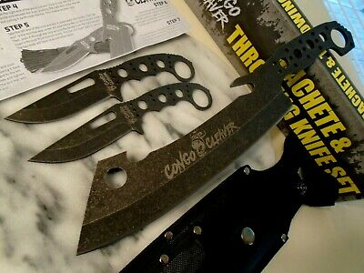 Congo Cleaver Trio 3 Pc Machete Throwing Knife Knives Set 5mm Full Tang 4546 New