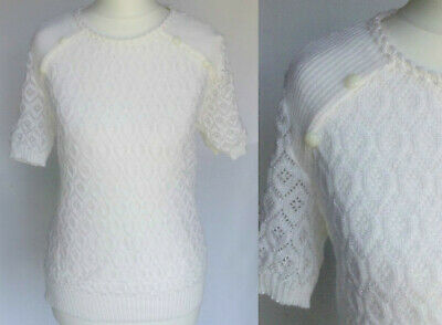 Vintage 80s White Pointelle Knit 60s Mod 50s Pin Up Sweater Jumper Top S-M UK 10