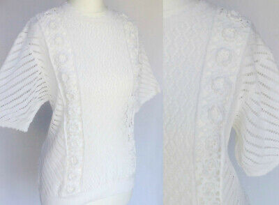 Vintage 80s White Floral Crochet Knit 40s 50s Pin Up Sweater Jumper Top M UK 12