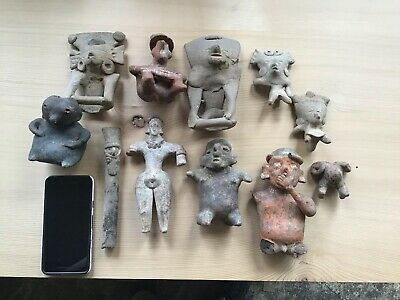 Lot Of 11 Pre Columbian Terra-cotta Items Colima Nayarit Flute