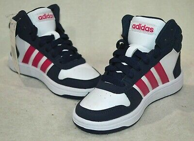 adidas Hoops Mid 2.0 K White/Pink/Navy Girl's Sneakers - Size 11K NWB B75746
