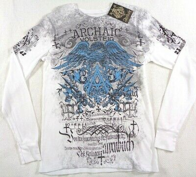 NWT $45 Archaic Affliction T-Shirt Men's Size M Thermal Long Sleeve Waffle Tee