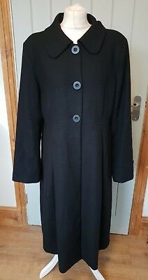 JoJo Maman Bebe long black winter coat size 16 wool rich maternity