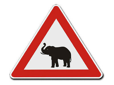 Triangular Traffic Sign with Motif Elephant S4338