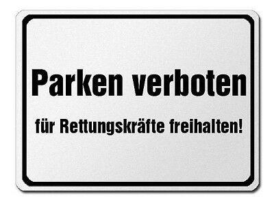 Park Prohibition Sign Made of Aluminium - Parking Verboten-Für Rescue Teams