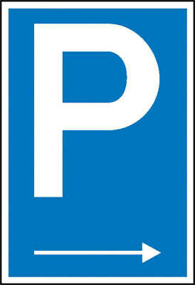 Parking Spot Sign » Symbol: P with Direction Arrow Right « S10132
