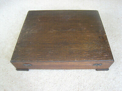 Strong vintage wooden cutlery box, dark wood, space for 45 pieces