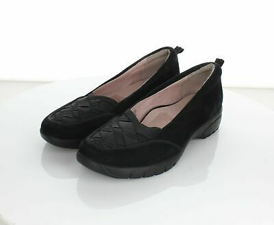 614c81c7ff5f1 WOMENS TARYN ROSE black leather cap toe casual flats shoes sz. 6.5 M ...