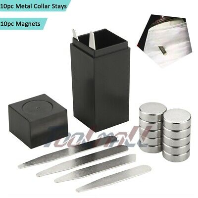"""Lots-20pc Set (2.5"""") Magnetic Metal Collar Stays with COATED XL Magnets, w/Box"""