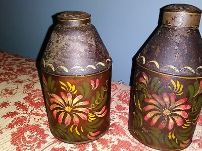 Early Pair Of Tin Tole Paint Decorated Tea Caddies 1800s