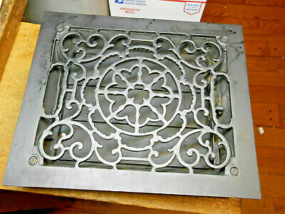 8 X 10 Antique  Black Cast Iron Heating Grate With Louvers