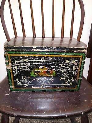 Antique Tole Painted Decorated Wooden Document Box