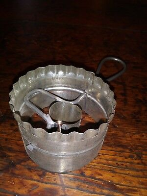 Antique Primitive Metal Tin Biscuit Cutter Tool