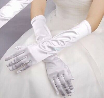 Long White Gloves Satin Over the Elbow Prom Wedding Bridal Party Formal USA