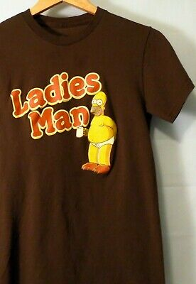 ce92d191b1ab03 The Simpsons Ladies Man Homer Men's Tee Small Brown T-Shirt 17