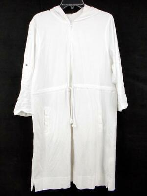 1cd269bc59b LANDS' END White 100% Cotton Hooded Swim Suit Cover Up Full Zip Women's XL