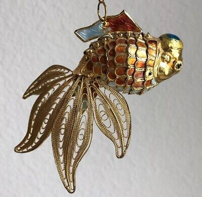 Vintage Cloisonne Fish Pendant Enamel Asian Gold Filigree Ornament