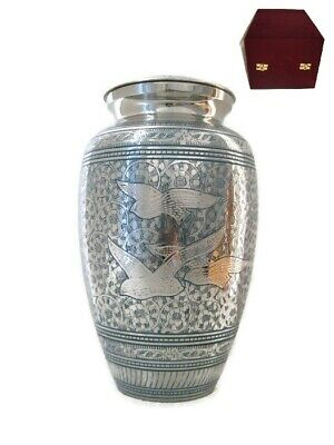 """""""Going Home"""" Nickel Large Full Sized Cremation Memorial Ashes Metal Urn + Case"""