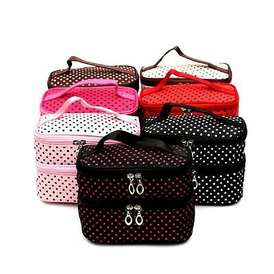 Women Layer Nail Cosmetic Makeup Bag Travel Toiletry Wash Storage Beauty Case AU
