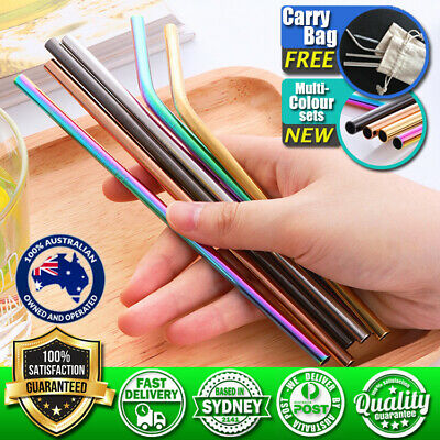 2-8x Stainless Steel Metal Drinking Straw Straws Bent Reusable Washable + Brush