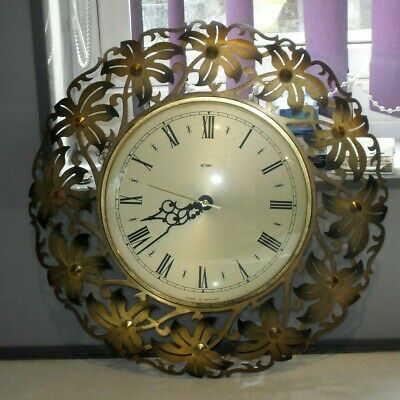 VINTAGE RETRO 1970s METAMEC BRASS GILT METAL WALL CLOCK MID CENTURY