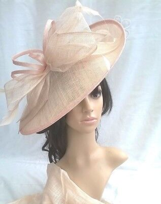 Nude blush Sinamay Hatinator.hat.Large shaped saucer disc Wedding.races.