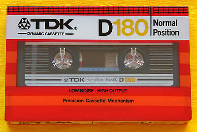 1x TDK D 180 SUPER LONG PLAY Cassette Tape 1982 + OVP + SEALED + VERY RARE + TOP