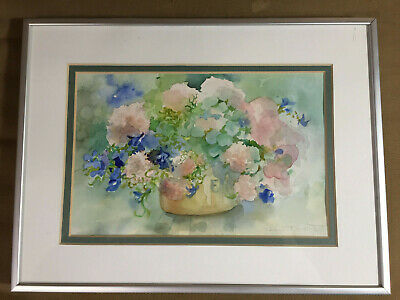 """Jean Turkot """"Still Life With Flowers"""" Watercolor Painting #1 - Signed/Framed"""